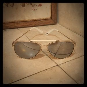White and Gold Mirror Aviator Sunglasses Hilfiger